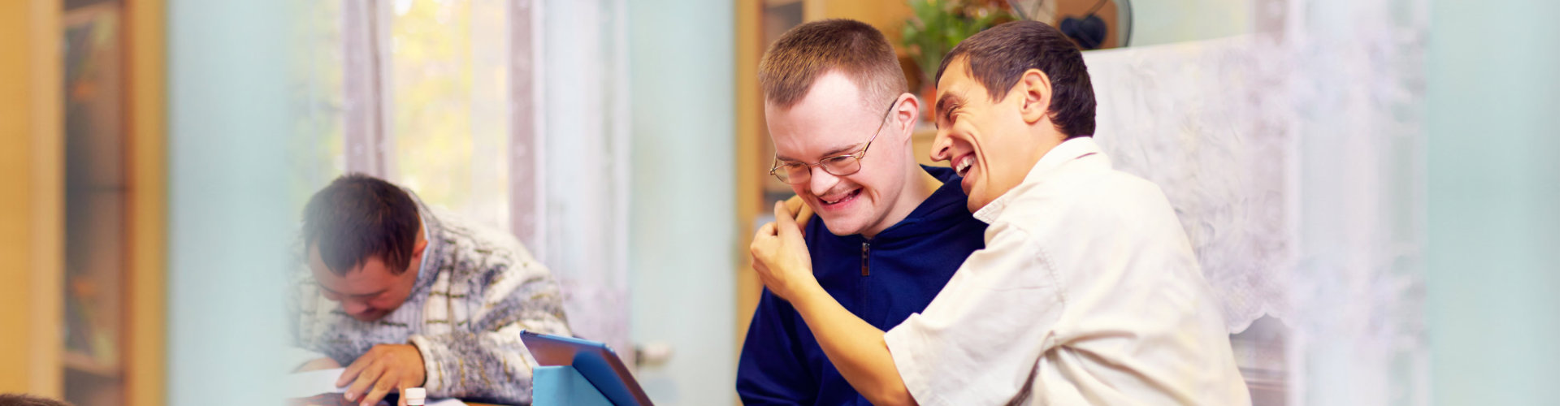 friends with disability socializing through internet.